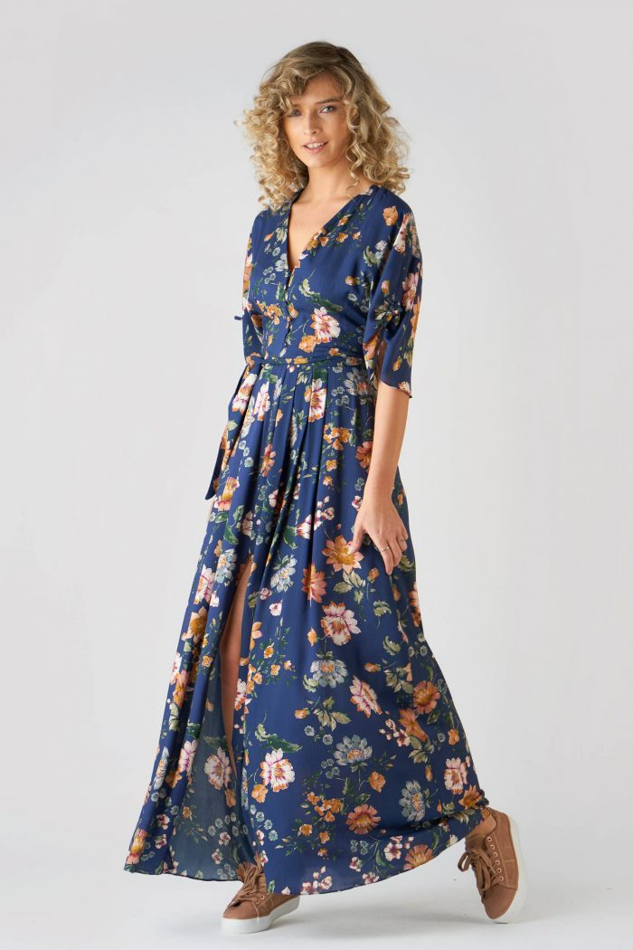 Rochie Ivonne Flowers Bleu