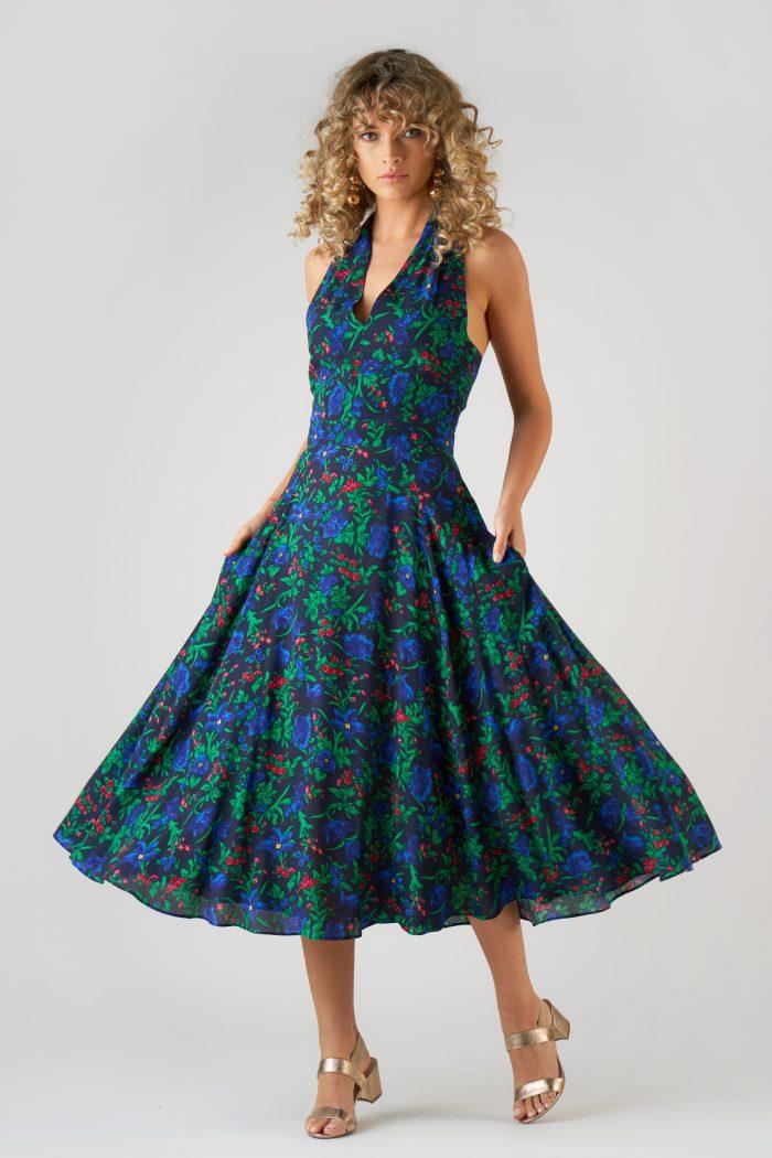 Rochie Marilyn Flowers Bleu