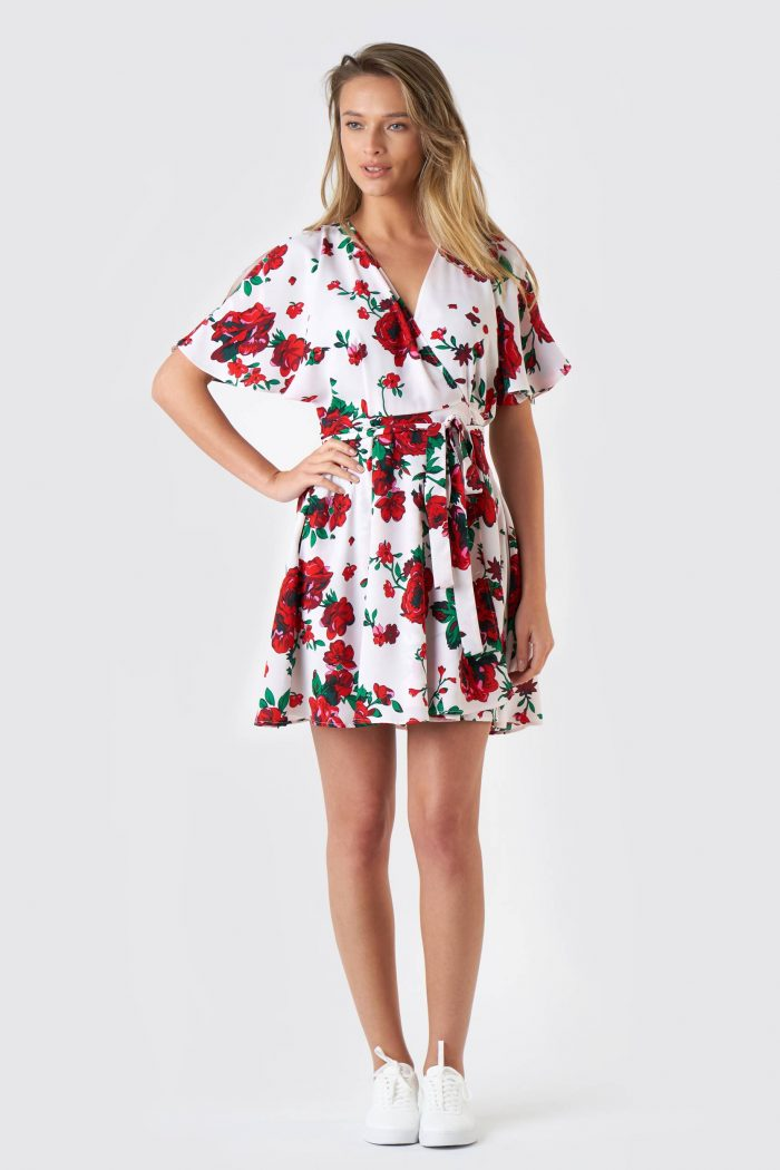 Rochie Desiree S Flowers Red