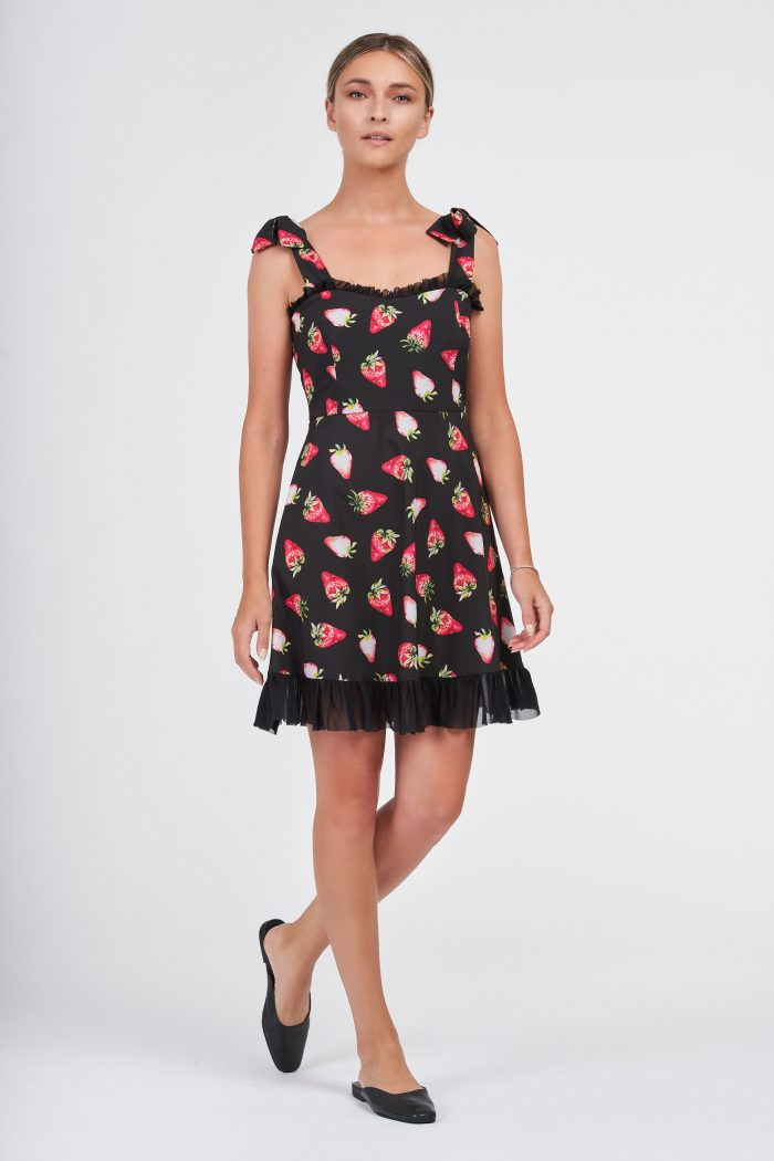 Sweet Strawberry Dress Black
